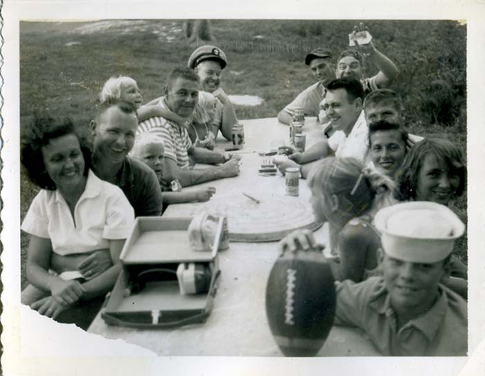 Picnic on Midway Island Lucky Lager Olympia Polaroid 1961