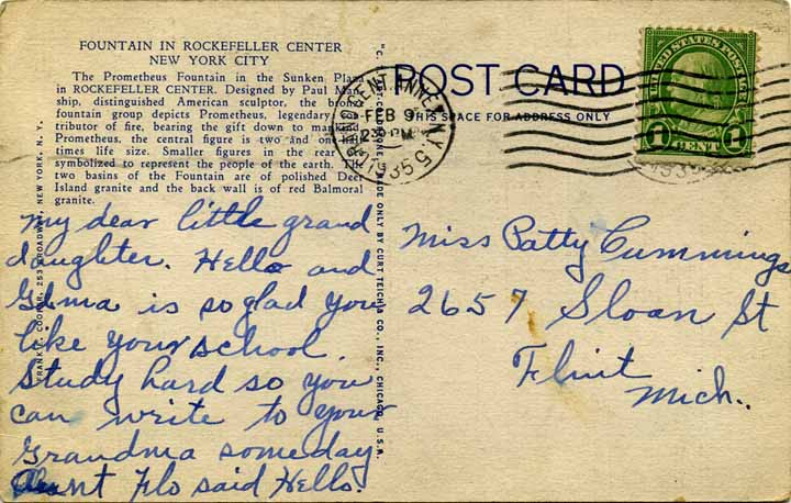 Rockefeller Post card back