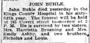 John Buhle's Obituary